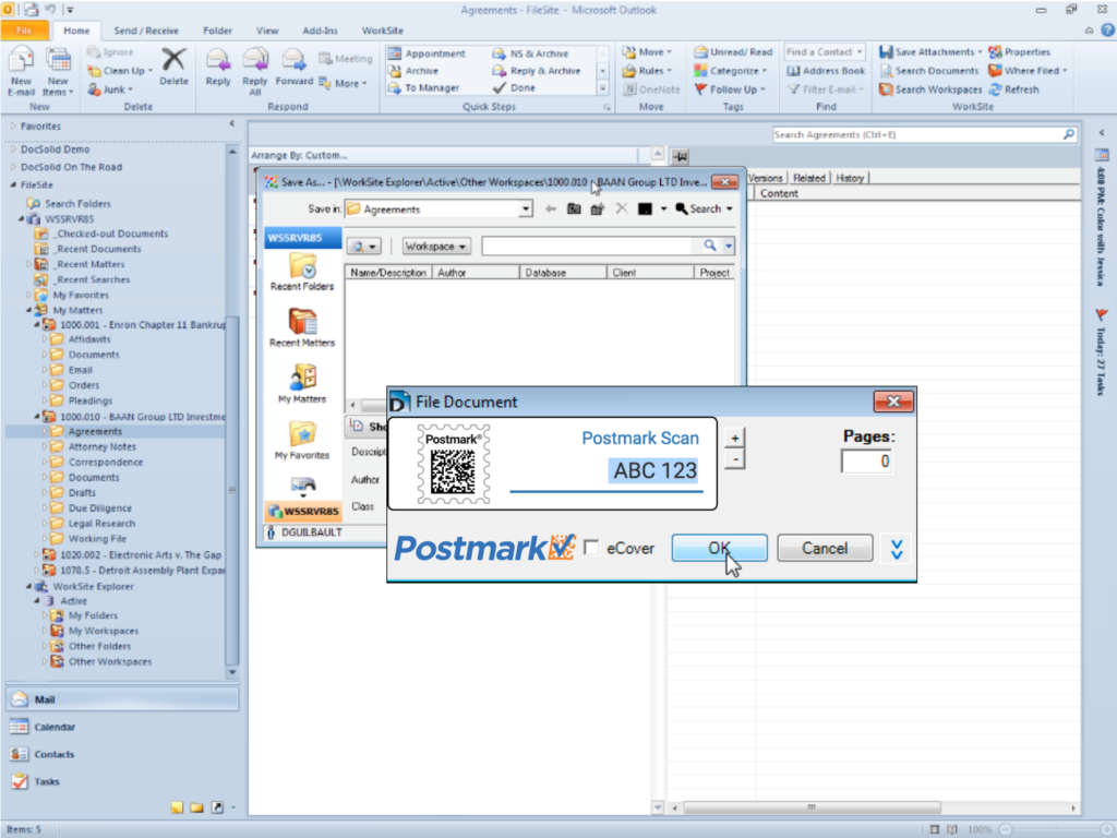 iManage integrates with Postmark Scan software by DocSolid
