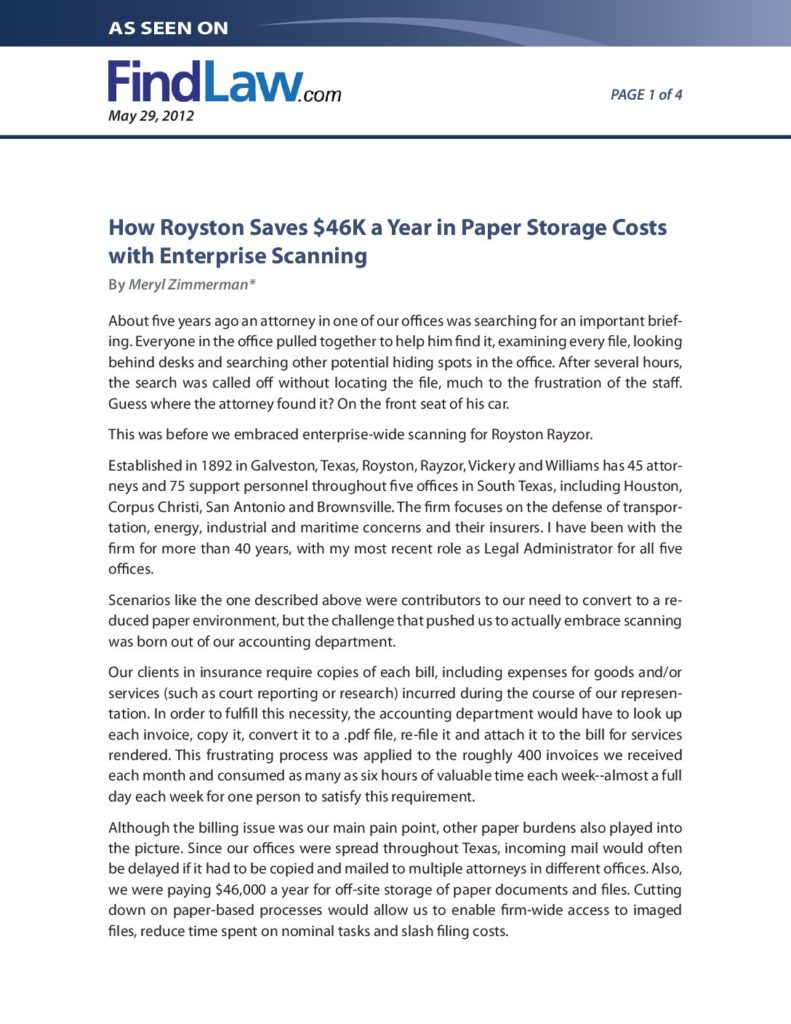 How Royston Saves $46K a Year in Paper Storage Costs with Enterprise Scanning