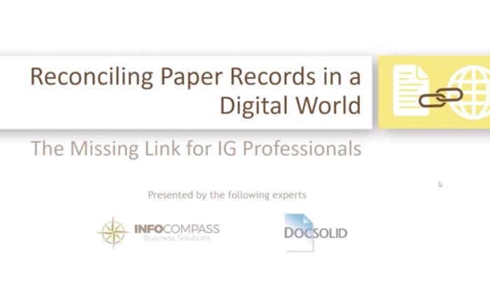 Webinar Cover Reconciling Paper Records
