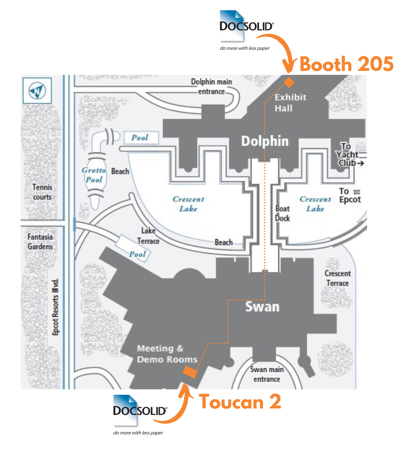 DocSolid ILTACON 2019 Map - Booth 205 + Room Toucan 2